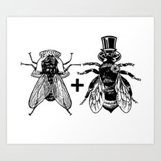 a fly marrying a bumblebee Art Print