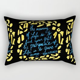 Picasso Quote in Teal and Yellow Rectangular Pillow