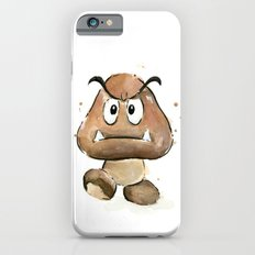 Goomba Watercolor Painting Mario Gamer Videogame Art iPhone 6 Slim Case