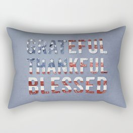 Stars And Stripes Grateful Thankful Blessed Typography Rectangular Pillow