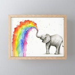 Baby Elephant Spraying Rainbow Framed Mini Art Print