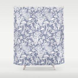 Delicious Autumn botanical poison IV // blue grey background Shower Curtain