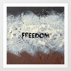 Freedom Pollock Rothko Inspired Black White Red - Modern Art Print