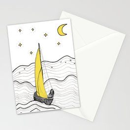 Line Art Ink Illustration with a Sailboat on a wild ocean Stationery Cards