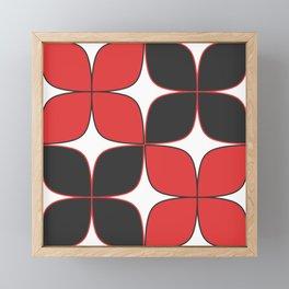 70's Flower Pattern Black Red Framed Mini Art Print