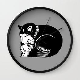 Black and White Sleeping Husky Wall Clock