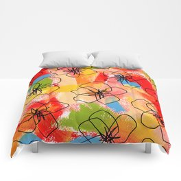 Hibiscus Family #1 - hibiscus illustration flower pattern floral painting nursery room decor Hawaii Comforters