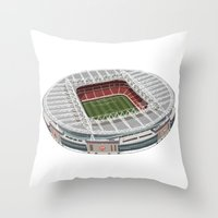 arsenal Throw Pillows featuring The Emirates Stadium by Superfan