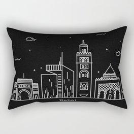 Rabat Minimal Nightscape / Skyline Drawing Rectangular Pillow