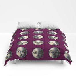 moon phases on dark purple Comforters