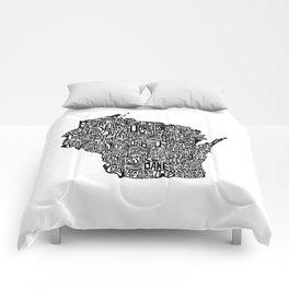 Typographic Wisconsin Comforters