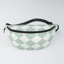 Rustic Farmhouse Checkers in Sage Green and White Fanny Pack