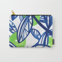 Blue and lime green abstract apple tree Carry-All Pouch