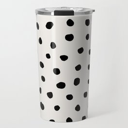 Modern Polka Dots Black on Light Gray Travel Mug
