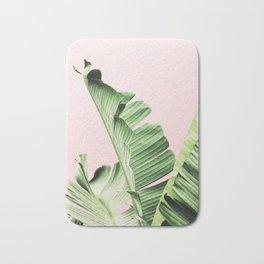 Banana Leaf on pink Bath Mat