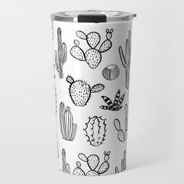 Cactus desert southwest palm springs festival house plant succulent terrarium black and white art Travel Mug
