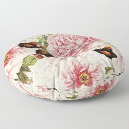 Vintage & Shabby Chic Pink Floral Peonies Flowers Garden Watercolor Pattern Floor Pillow