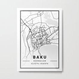 Baku Light City Map Metal Print