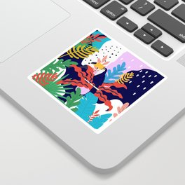 ABSTRACT TROPICAL JUNGLE AND TOUCAN BIRD PATTERN Sticker