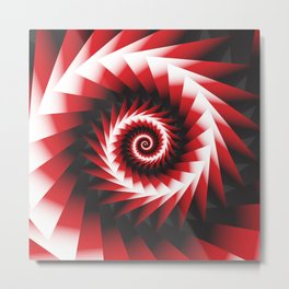 Abstract Spiral Sea Shell 2 - Red, Black and White Metal Print