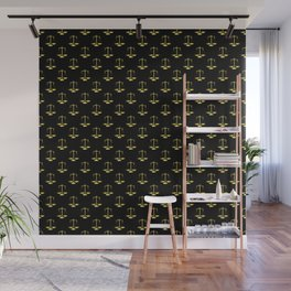 Gold Scales Of Justice on Black Repeat Pattern Wall Mural