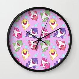 Baby Shark Doo Doo Family - Pink Pastel Version Print Wall Clock