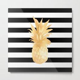 Gold Pineapple Black and White Stripes Metal Print