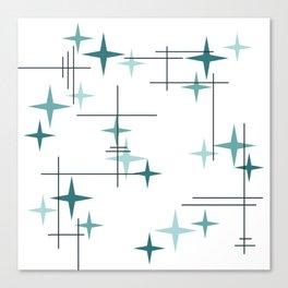 Mid Century Modern Stars (Teal) Canvas Print