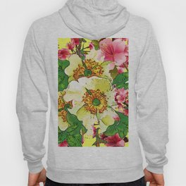 CONTEMPORARY PINK & CREAMY WHITE SPRING FLOWERS Hoody