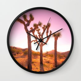 Three Sisters at Sunset- Joshua Tree Edition Wall Clock