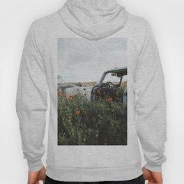Old car in poppy field Hoody