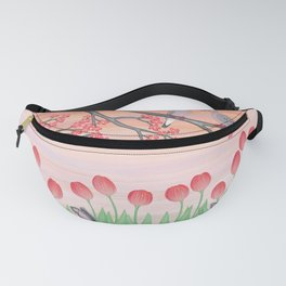 bunnies, tulips, and mourning doves Fanny Pack