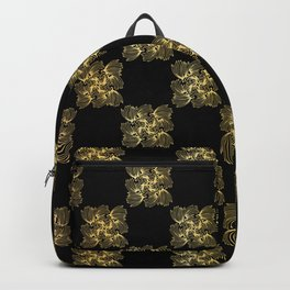 Luxe Gold Black Chess Board Style Pattern, Seamless Vector, Drawn Texture Backpack