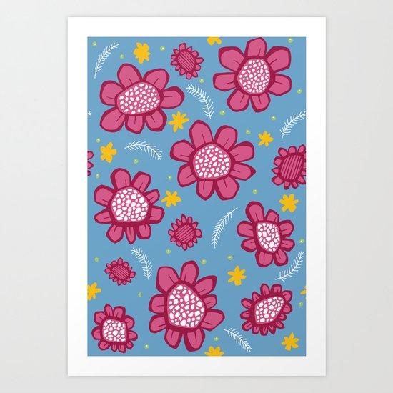 Pop Flowers pink Art Print