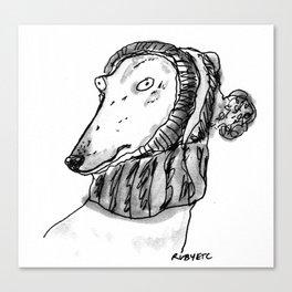winter greyhound Canvas Print