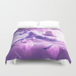 Kitty Cat Riding On Flying Space Galaxy Unicorn Duvet Cover