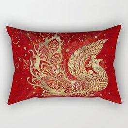 Golden Phoenix Bird on red Rectangular Pillow