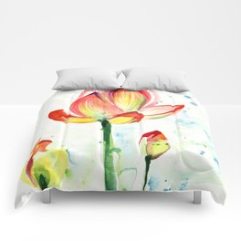 LOTUS FLOWER WITH BUDS Watercolor Comforters
