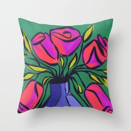 Mod Floral Vase Throw Pillow