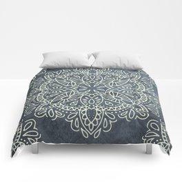 Mandala Vintage Ivory Blue Comforters
