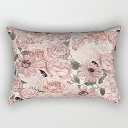 Vintage Floral Allover In Peach Pastels Rectangular Pillow