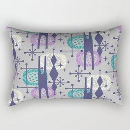 Retro Atomic Mid Century Pattern Grey Teal Blue and Lavender Rectangular Pillow