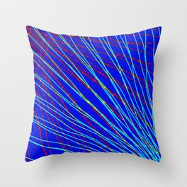 Many rays of light blue light with symmetrical bright waves on blue black. Throw Pillow