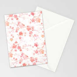 Peach pink Chinese cherry blossom on white Stationery Cards