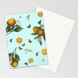 Oranges and Butterflies on Mint Stationery Cards