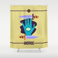justice Shower Curtains featuring JUSTICE by badOdds