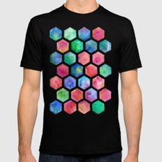 Hand Painted Watercolor Honeycomb Pattern Black MEDIUM Mens Fitted Tee