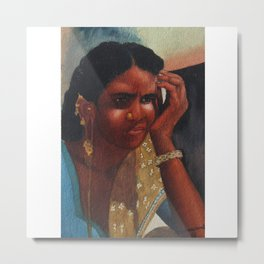 Thinking Deep, Indian Women - in Watercolor Metal Print
