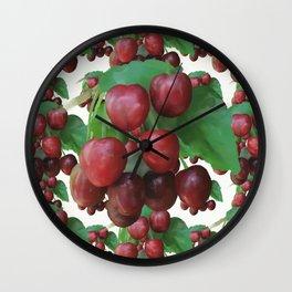 Sour Cherry, watercollor Wall Clock
