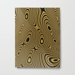 BUZZ - concentric circles of black and yellow abstract design Metal Print